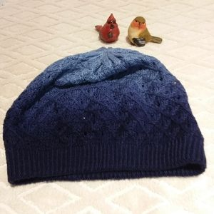 Ombre blue crocheted hat
